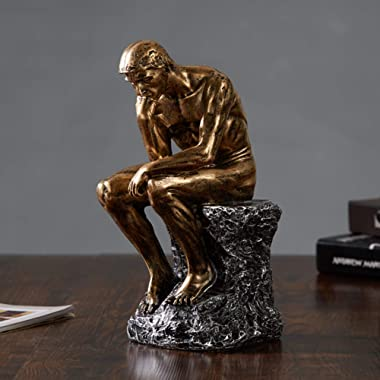 """10"""" Resin The Thinker Statue Famous Thinking Man Sculptures Home Decor Art Crafts Gifts NBHUZEHUA Golden"""