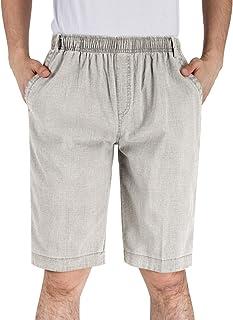 Men's Linen Drawstring Beach Shorts Casual Elastic Waist Flat-Front Jogger Shorts with Pockets
