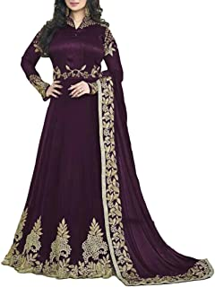 Ethnic Empire Women's Georgette Semi Stitched Anarkali Salwar Suits (Eeas_Ea10209_Violet_Free Size)