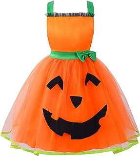 Aislor Déguisement Citrouille Enfant Fille Costume Robe d'halloween Carnaval Cosplay Tutu Princesse Toussaint Soirée Anniv...