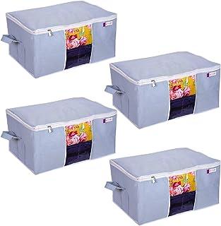 PrettyKrafts Set of 4 Underbed Storage Bag, Storage Organizer, Blanket Cover with Side Handles - Grey