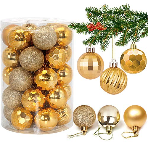 Weihnachtskugeln 34, Gold Weihnachtsbaumkugeln Kunststoff Weihnachtsbaum Kugeln Deko für Weihnachtsbaumschmuck, Bruchsichere Christbaumkugeln Christbaumschmuck Weihnachtsdeko für Weihnachten 4cm