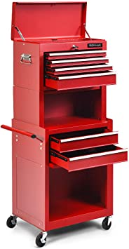 Goplus 6-Drawer Rolling Tool Chest w/Riser, 3 in 1 Rolling Tool Box w/Keyed Locking System, Detachable Top Box, Side Handle, Toolbox Organizer for Workshop Garage: image