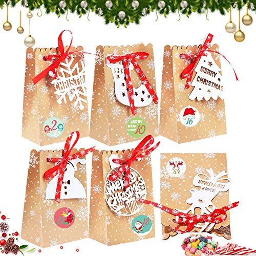 24Pcs sacchettini carta,sacchetti regalo in carta kraft,Buste Regalo,Sacchetti Regalo Carta,Piccoli Natale scatole Regalo Natalizie,Borse Carta,Sacchetti Regalo Bambini Caramelle (A)