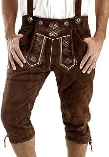 Leather Craft Mens Knee Breeches German Bavarian Lederhosen Oktoberfest Brown Lederhosen