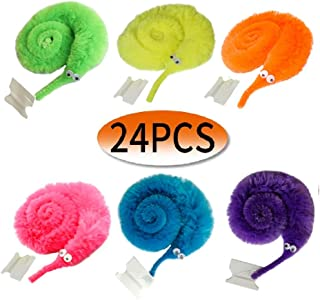 24PCS Magic Worm Toys,Worm on a String,Worm Trick Toys,Wiggly Twisty Fuzzy Worm for Party Supplies(6 Color)