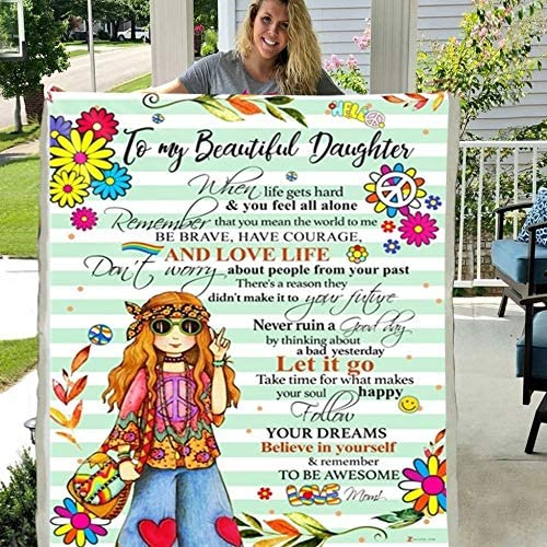 Throw Blanket to My Mom from Daughter Son Gift Christmas Birthday Mother Days Soft Bed Flannel