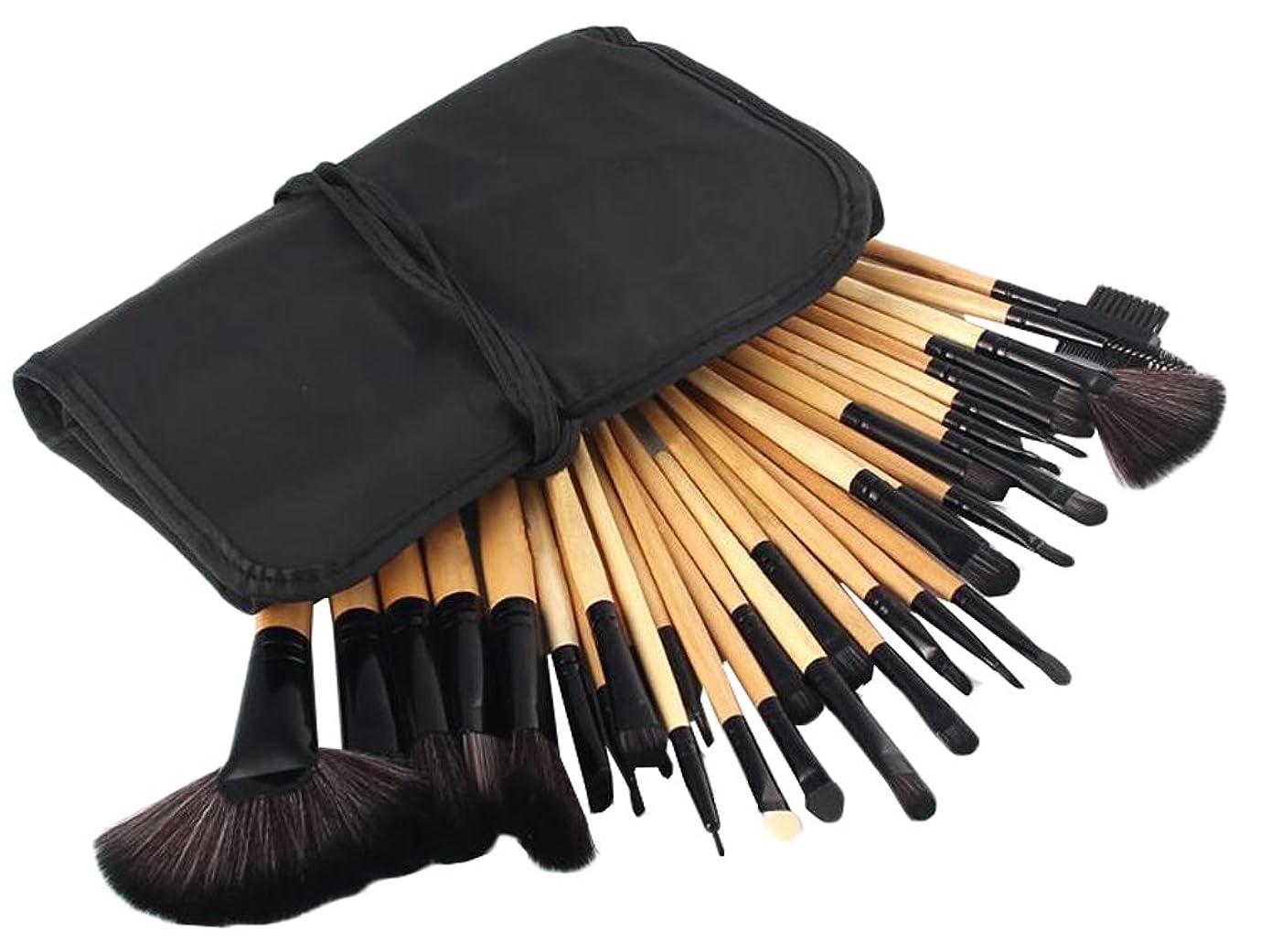 不平を言う母皮肉IvyOnly メイクブラシセット 32本セット 化粧筆 化粧ブラシ 極細 収納ケース付き 木製ハンドル 布袋 (木)