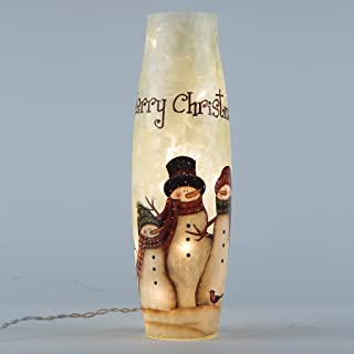 Glitzhome Snowman Family Lighted Frosted Glass Hurricane