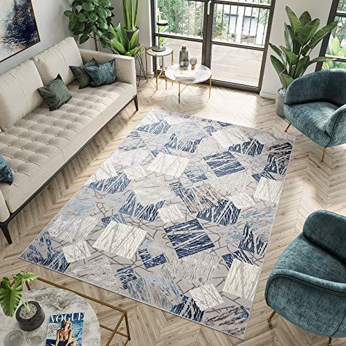 TAPISO ASTHANE Tappeto Blu Grigio per Salotto Tappeto Casa per Camera da Letto Geometrico Pelo Corto 120 x 170 cm