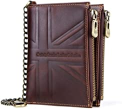 CONTACTS Mens Genuine Leather RFID Blocking Wallet-Brown