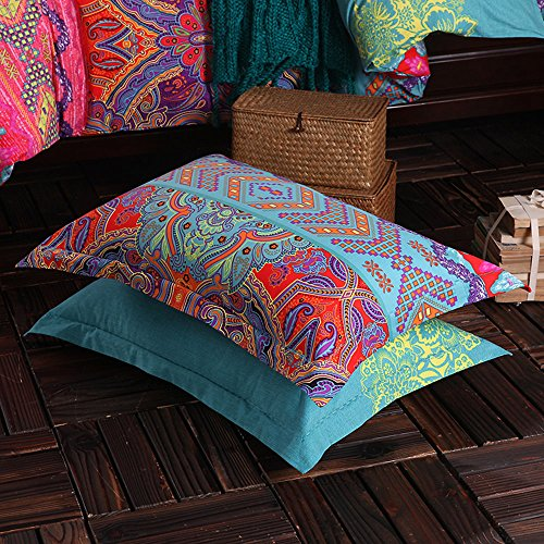 HNNSI Exotic Striped Bohemia Pillow Shams Queen Size 2 Pieces,100% Brushed Cotton Thick Boho Pillow Cases Bohemian Pillow Covers,19 x 29