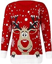 Patrones de Renos de Jersey navideño para Mujer Punto Floral Imprimir Blusa para Mujer del Blusa de Mujer del Jersey de Manga Larga con Estampado de Alce para Mujer Vacaciones Hanyixue