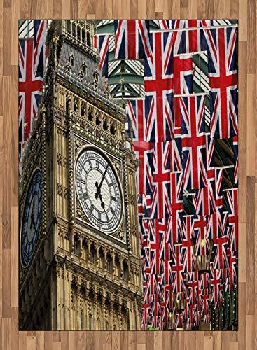 ABAKUHAUS Bandera de Reino Unido Alfombra de Área, Banderas del Reino Unido, Tejido Durable Decoración para Cualquier Ambiente, 160 x 230 cm, Pálida café roja