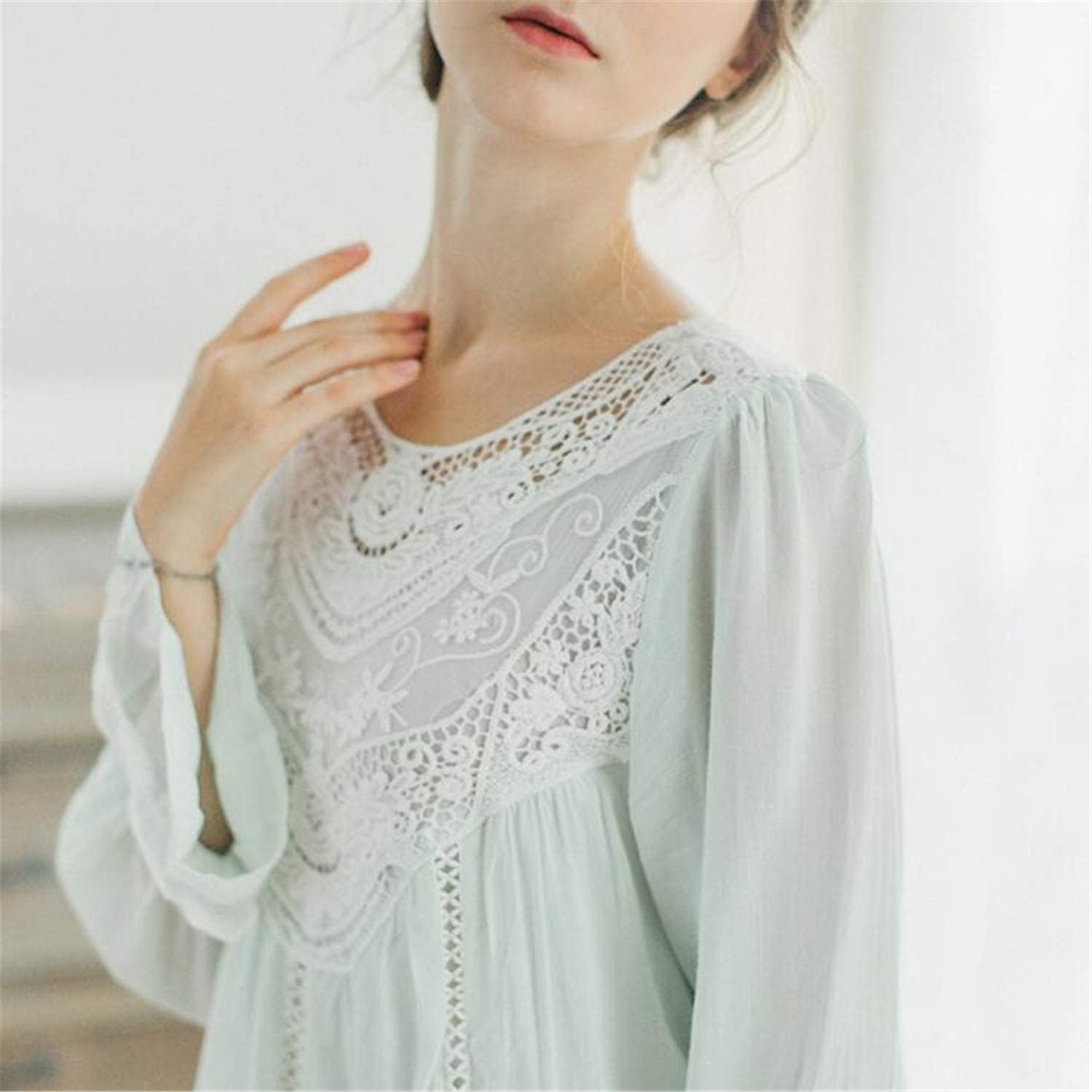 Elegant Women Pajamas Sets Cotton Pants Summer Half Sleeve White Lace Home Clothes Plus Size Sleepwear Palace Style Green M