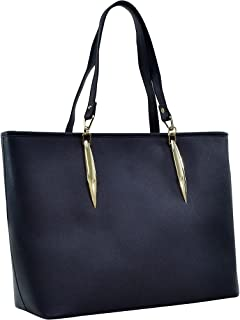 Dasein Large Saffiano Faux Leather Tote with Minimal Accent Hardware