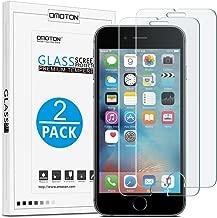 [2 Stück] OMOTON Panzerglasfolie kompatibel mit iPhone 6s und iPhone 6, 9H Härte, Anti-Kratzen, Anti-Öl, Anti-Bläschen, lebenslange Garantie