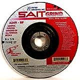 United Abrasives-SAIT20079 A24R General Purpose/Long Life Grinding Wheel (Type 27/Depressed Center) 6' x 1/4' x 7/8', 25-Pack