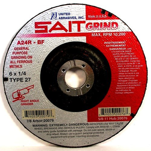 SAIT 20079 Type 27 6-Inch x 1/4-Inch x 7/8-Inch 10200 Max RPM Grade A24R Long Life Depressed Center Grinding Wheels, 25-Pack -