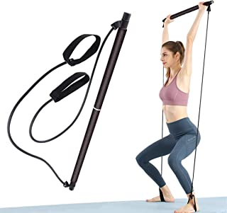 KINSPORY Pilates Resistance Bar with Foot Strap for Yoga Exercise, Stretch, Twisting, Sit-Up Bar