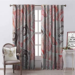 Gloria Johnson Money Wear-Resistant Color Curtain Bullseye Notes with a Portrait of Queen of England Paper Bills of Great Britain Waterproof Fabric W42 x L84 Inch Scarlet Taupe