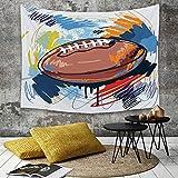 Tapisserie Murale Hippie Décoration Tenture Couverture Pique,Sports, croquis de ballon de rugby en forme de diamant avec la ligue d'équipement pro,Nappe Serviette de Plage Yoga Indienne Tapestry