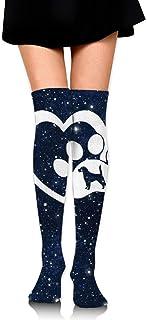 Beagle Dog Love Heart Paw-1 Calcetines altos elegantes hasta la rodilla para mujer Medias altas