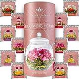 Teabloom Heart Shaped Flowering Tea – 12 Assorted Blooming Tea Flowers – Green Tea + Jasmine, Pomegranate, Strawberry, Rose, Litchi & Peach – Gift For Tea Lovers, Anniversary, Valentine, Birthday