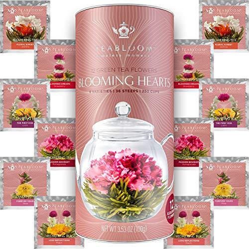 Teabloom Herzförmiger Blütentee – Geschenk-Set mit 12 zusammengestellten Blühenden Teeblumen -...