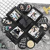 Creative Explosion Gift Box, DIY - Love Memory, Scrapbook, Photo Album Box, as Birthday Gift, Anniversary Gifts, Wedding or Valentine's Day Surprise Box (Black)