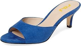 FSJ Women Comfort Low Heel Mules Peep Toe Slide Sandals Slip On Dress Pump Shoes Size 4-15 US