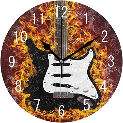 NIUMM Wanduhr Gitarre In Flammen Runde Wanduhr Durable Silent Hotel Schlafzimmer Wanduhr Kunst Küche Wohnzimmer Bunte Klassische Schule Home Decor