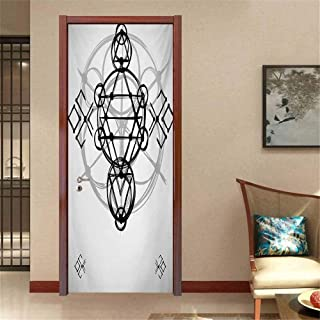 Sacred Geometry Self-Adhesive Door Mural Paper Simplistic Seed of Life Symbol Vortex Motion with Spheres Print Wallpaper Decor Black Silver White W35.4 x H78.7 INCH