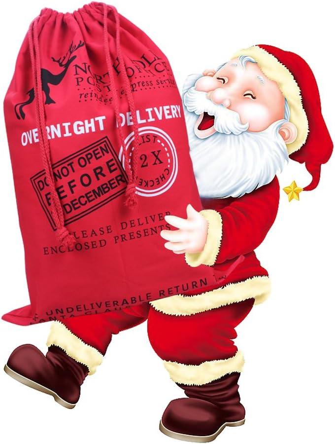 nom personnalis/é toile de coton 19,69 x 27,56 1PCS Sacs de P/ère No/ël de sac de No/ël extra-large avec cordon de serrage pour cadeaux de No/ël Pr/ésents cadeaux de vacances et cadeaux de f/ête rouge
