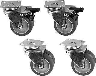 4 stuks 75 mm dubbele zwenkwielen, waarvan 2 stuks met rem, 100 kg, transportwielen, dubbele wielen.
