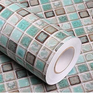 Mosaic Adhesive Paper Thick Self-Adhesive Removable Peel and Stick Wallpaper Matte Bathroom Wallpaper Kitchen Counter Paper Shelf Paper Countertop Vinyl Film Mosaic Wallpaper 16
