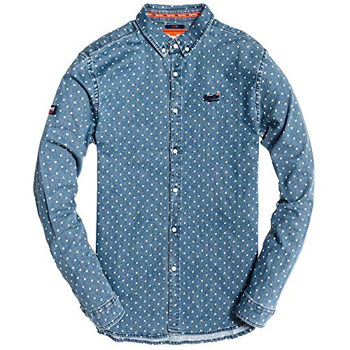 Superdry Camisa Topos Azul Hombre