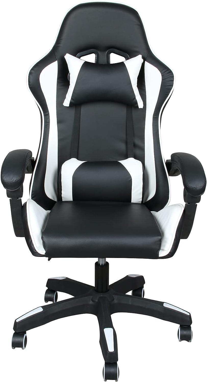 Silla de escritorio ergonómica oficina altura ajustable, silla giratoria ejecutiva con almohada lumbar y cabeza para adultos,color blanco