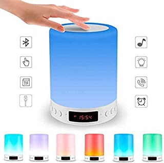 Smart Touch Lamp Rechargeable Table Lamp Dimmable LED Night Light with Wireless Bluetooth Speaker and Alarm Clock Screen, ...