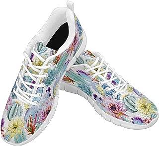 Zenzzle Women's Comfortable Sneaker Women Running Sport Shoes for Girls Watercolor Cactus Pattern Size US6-12