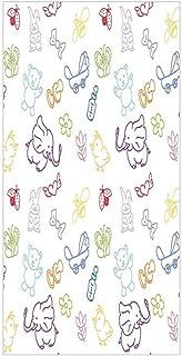 3D Decorative Film Privacy Window Film No Glue,Nursery,Cartoon Drawing Style Baby Elephants Teddy Bears Flowers Butterflies Bees Pattern,Multicolor,for Home&Office