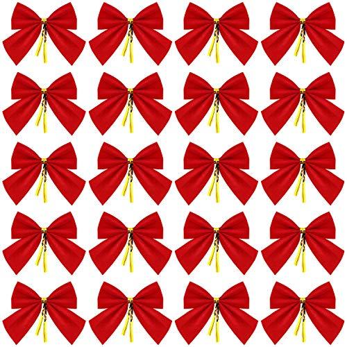 WILLBOND 144 Stücke Mini Weihnachtsbaum Bögen Rot Samt Bögen Weihnachtsbaum Bowknot Ornamente für Weihnachtsbaum Hängende Dekoration Lieferungen