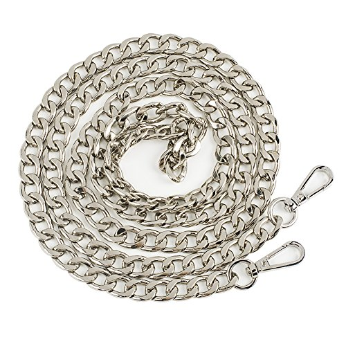Symuitrc 12MM Width Purse Chain Strap Replacement Length 47' Gold Plated Metal Chain Handbags Strap for Clutch Wallet Satchel Tote Bags Shoulder Crossbody Bag Chain Replacement Strap Silver