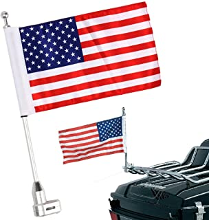 EasyGO Motorcycle Bike Rear Mounting Pole Skull Face Flag Chrome For Harley Touring Sportster Dyna Softail Tri Luggage Rack Skull Flags