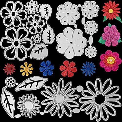 3 Sets Blume Metall Stanzschablonen Weihnachtsblumen Blätter Prägeschablonen 19 Stile 3D Blumen Stanzform für DIY Handwerk Sammelalbum Album Papierkarte, Insgesamt 19 Stücke