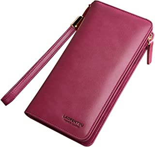 LAORENTOU Women's Genuine Leather Long Wallets Clutch Purse with Wrist Strap ID Cases Credit Card Holder Checkbook for Women