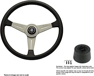 Nardi Classic 390mm (15.35 Inches) Leather Steering Wheel w/White Anodized Spokes and Hub Adapter for Triumph TR-7 Part # 6061.39.1001 + .5105