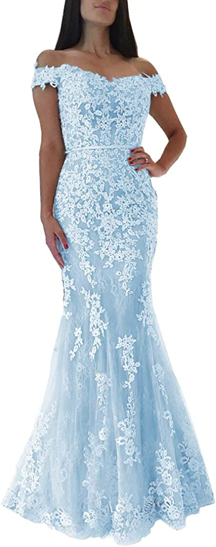 Sweet Bridal Women's Mermaid Lace Appliques Off Shoulder Prom Dresses Long Evening Gowns