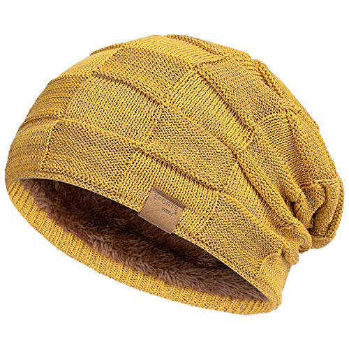 Vgogfly Slouchy Beanie for Men Winter Hats for Guys Cool Beanies Mens Lined Knit Warm Thick Skully Stocking Binie Hat Yellow