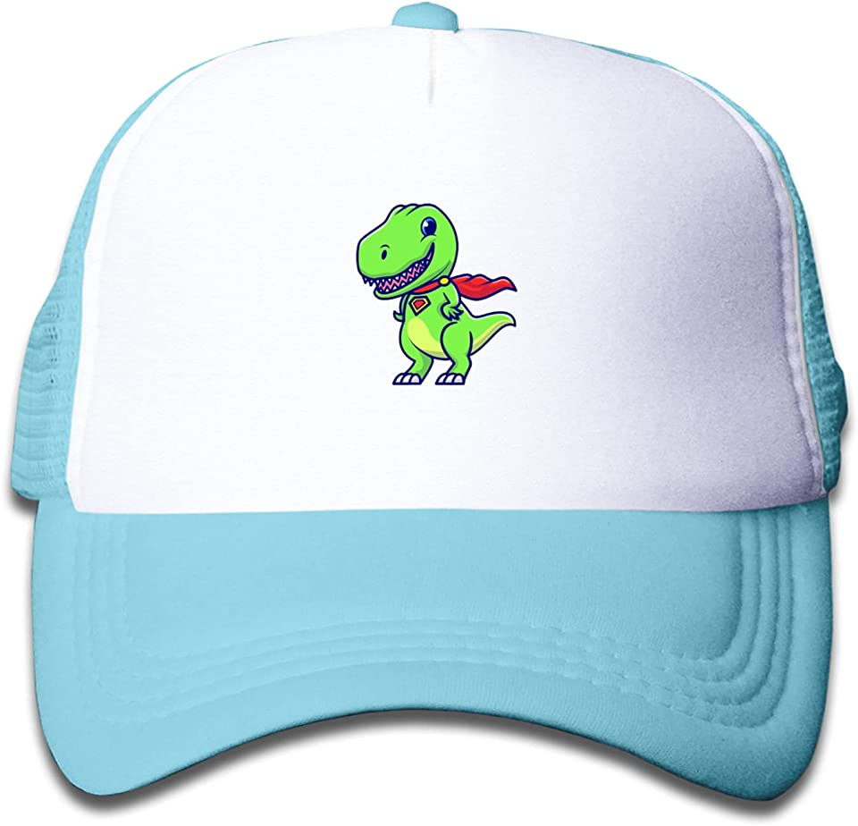 Kids Baseball Cap Summer Sun Protection Mesh Back Baseball Trucker Hat for Boys Girls - Super-Hero Cute Dinosaur